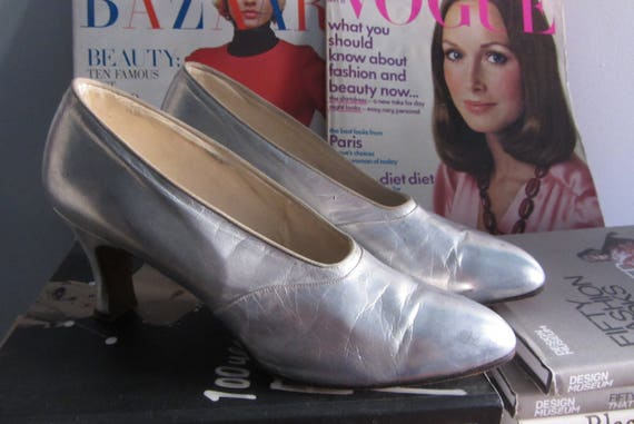 1930s silver leather high heels | 20s 30s art deco