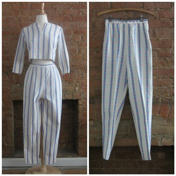 1950s crop top and cigarette pant set | 50's MCM C