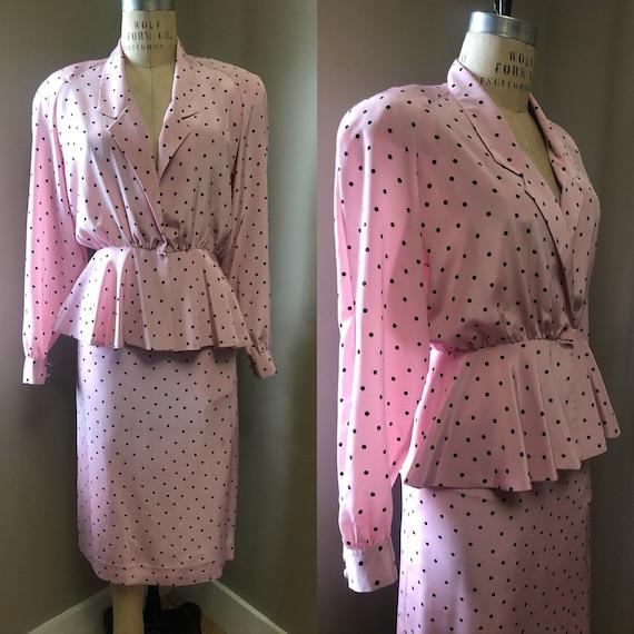 Vintage Lilli Ann polka dot skirt suit