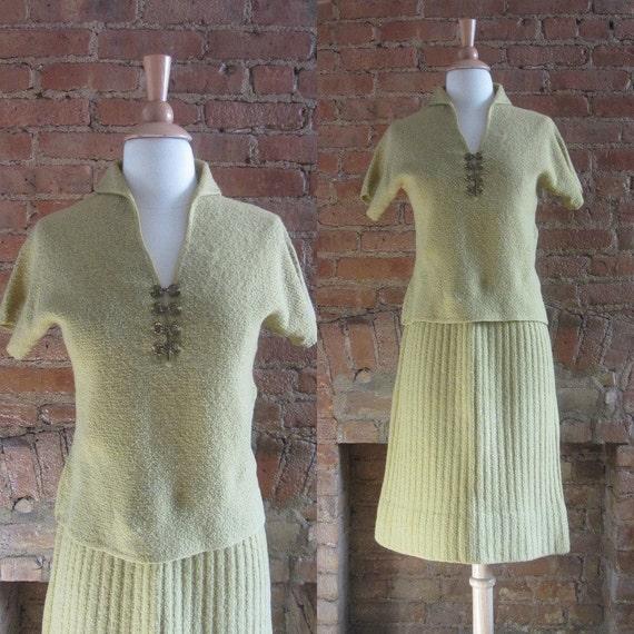 1950s Kimberly buttercup yellow wool knit skirt se