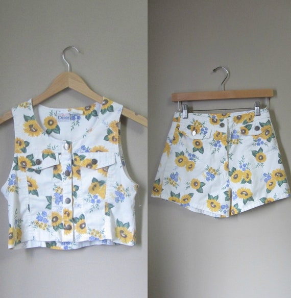 1990s summer crop top and shorts set • 80's 90's s
