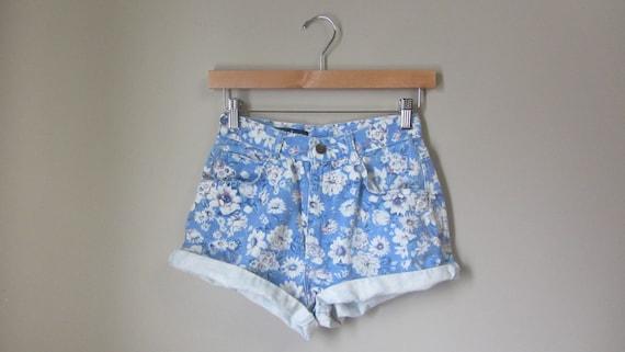 vintage floral denim short shorts | 90s jean short