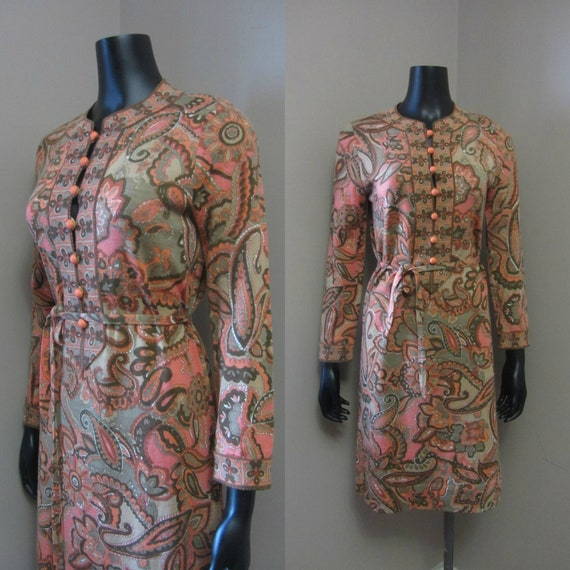 1960s Goldworm paisley dress | 60's Italian Knit M