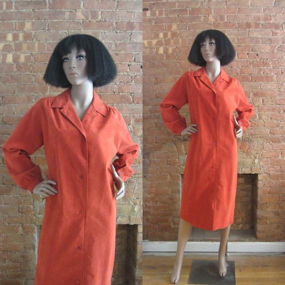 1970s Halston burnt orange ultrasuede dress