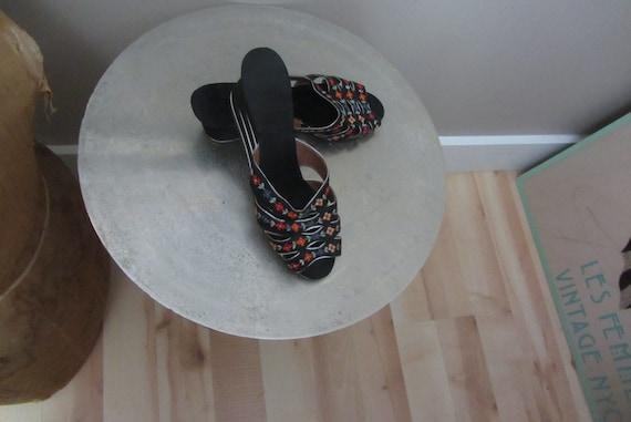 1940s Silk Chinese Slides   40's Boudoir Slippers