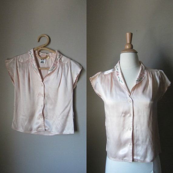 1970s champagne pink blouse | 70's does 30s top