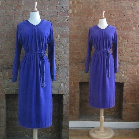 1970s Jonathan Logan purple velour dress • Violett