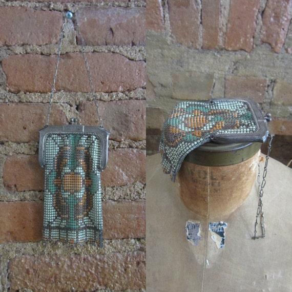 1920s Whiting & Davis enamel mesh metal purse | 20