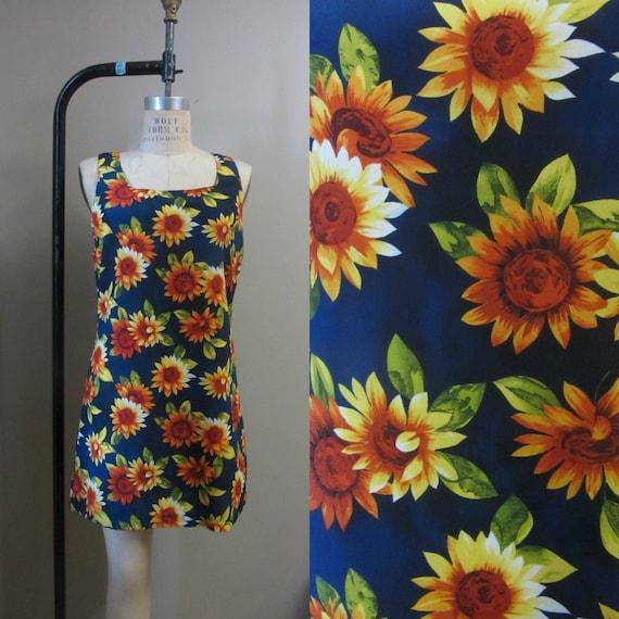 1990s sunflower mini dress | 90s grunge
