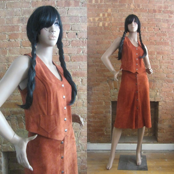 1970s rust brown suede vest & skirt set | 70's Boh