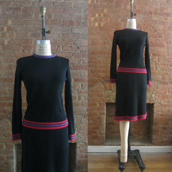 1970s Bonnie Cashin black knit skirt set • 70's do