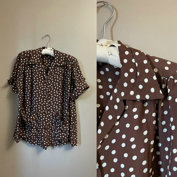 1940s polka dot blouse | 40s brown shirt