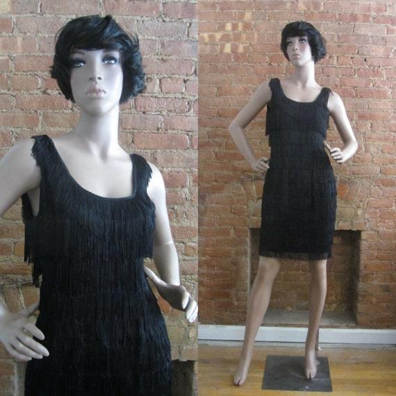 1980s black fringe cocktail dress | 80's Does 50's