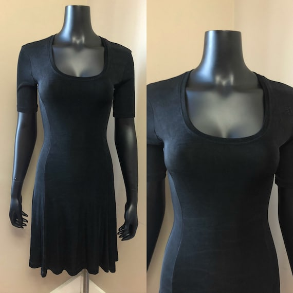 1990s Betsey Johnson black mini dress • 90's grung