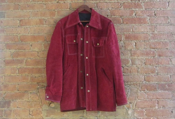 1970s Buckboard burgundy suede jacket mens