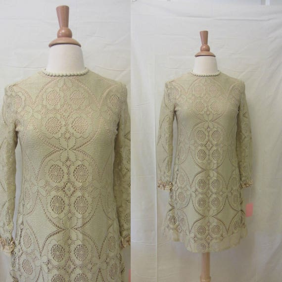 1960s lace mini dress | 60's mod boho