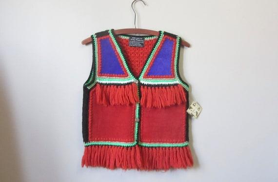 1970s suede & fringe knit vest | 70's boho hippie
