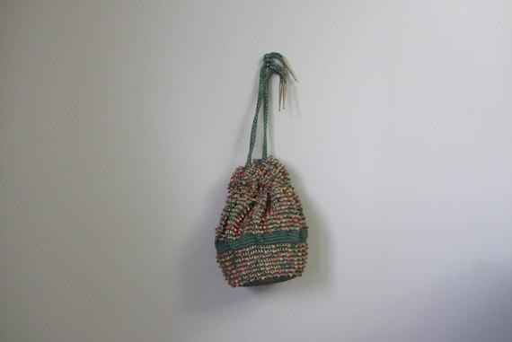 1940s crochet & beaded handbag | 40's drawstring p