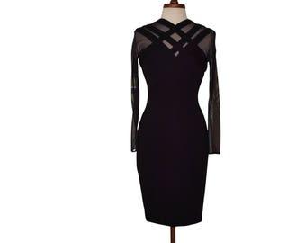 Vintage Tadashi  Saks 5th Ave. Caged Sheer Illusion/Bodycon/Party Dress