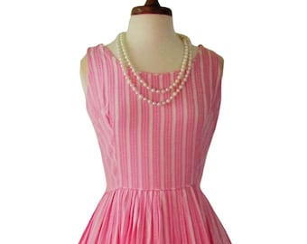 Vintage 1950's California Charmer Pink  Cotton Candy Striped Sundress