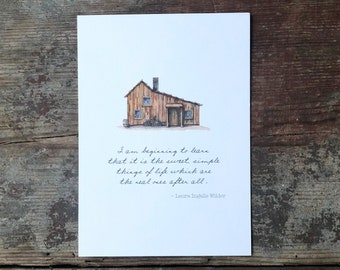 """Laura Ingalls Wilder 5x7 or 8x10 Little House on the Prairie Quote - """"I am beginning to learn that it is the sweet simple things of life"""""""