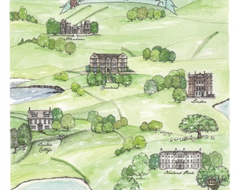 Jane Austen Print - Sense and Sensibility Map 10x10 Print - Jane Austen Art - Watercolor and Ink Map New Home Family Watercolor Print