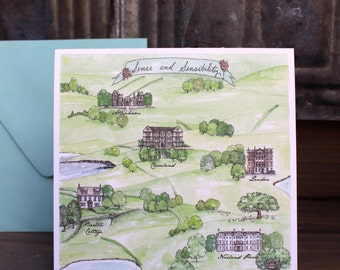 Jane Austen - Sense and Sensibility Map - Jane Austen Quote - Watercolor and Ink Map Card New Home Family House Home Card -