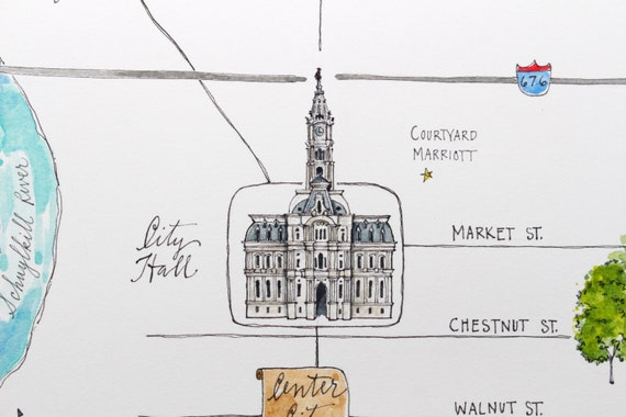 Philadelphia Custom Wedding Map - Historic - Watercolor - Made to Order on map of phila transportation, map of phila airport, map of phila restaurants,