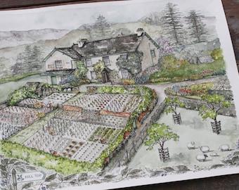 Beatrix Potter's Hill Top - 8x10 or 11x14 Watercolor print - Hill Top Watercolor Gardening Print - Peter Rabbit Garden Print - Garden