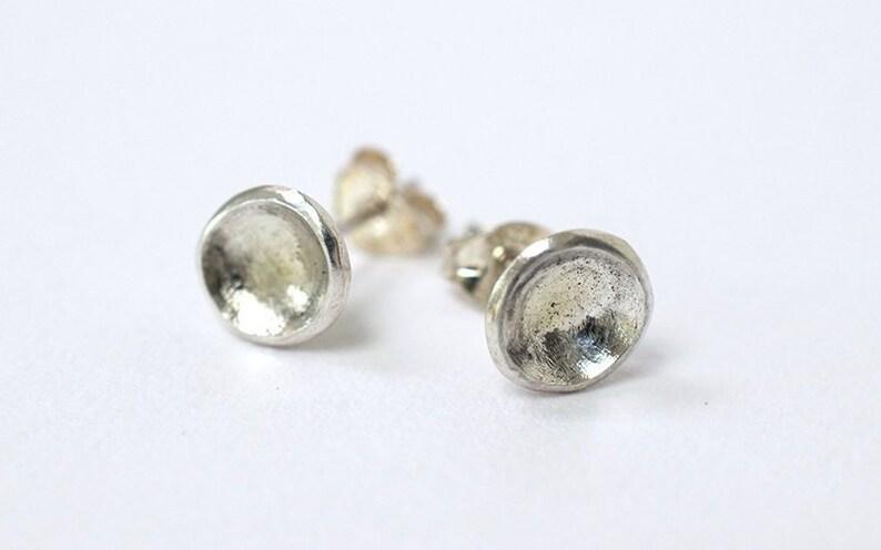 Minimalist Earrings  Sterling Silver Round Stud Earrings  image 0