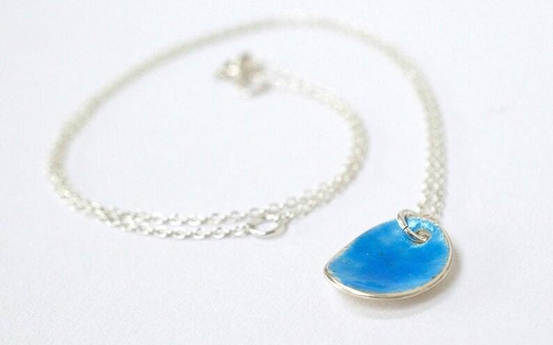 Blue Enamel Necklace  Silver Necklace   Contemporary image 0