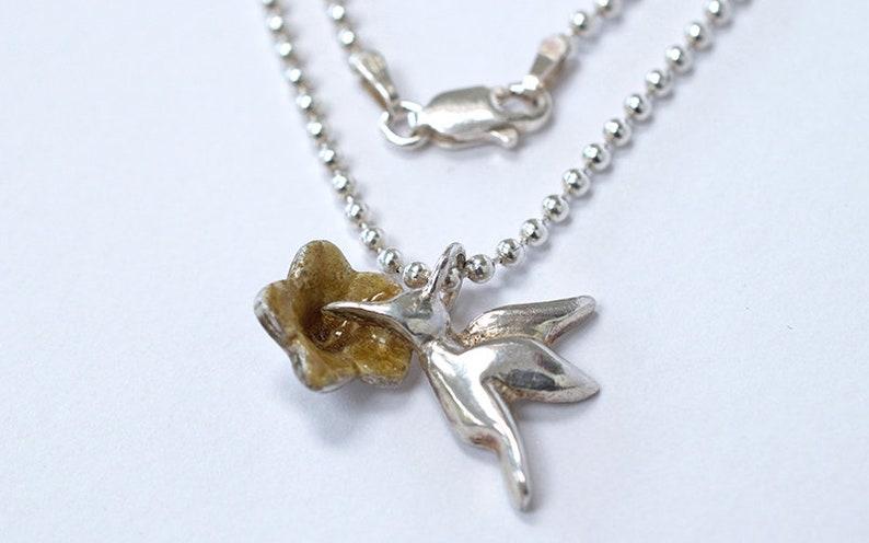 Humming Bird Necklace  Silver Humming Bird  Glass Enamel image 0