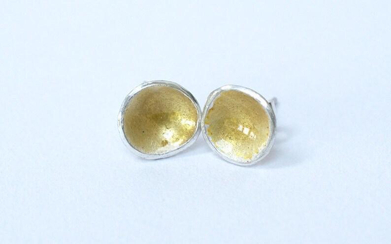 Silver and Amber Enamel Stud Earrings  Enamelled Earrings  image 0