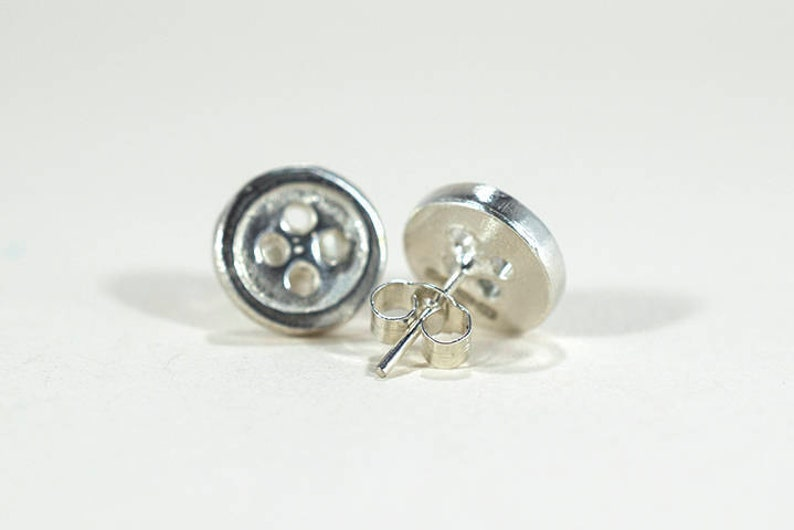 Silver Button Earrings  Button Earrings  Vintage Style image 0