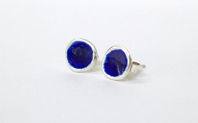 Silver and Royal Blue Enamel Stud Earrings  Enamelled image 0