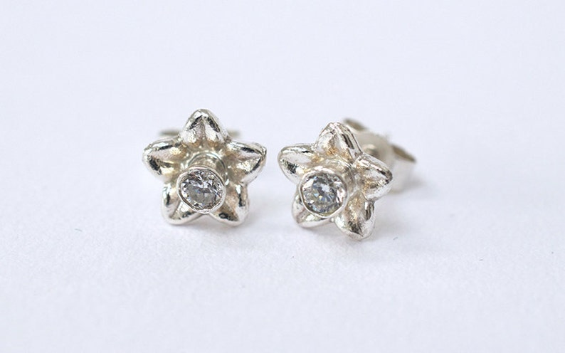 Silver Flower & Cubic Zirconia Earrings   Handmade Sparkling image 0