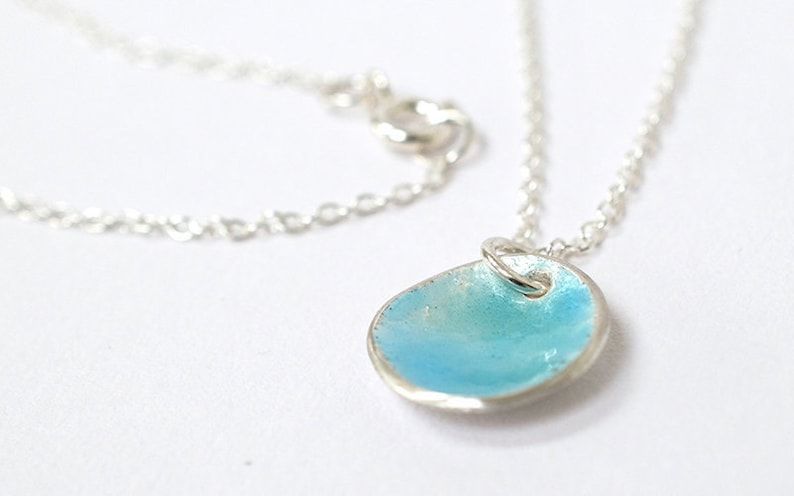 Pastel Blue Enamel Necklace  Silver Necklace   Contemporary image 0