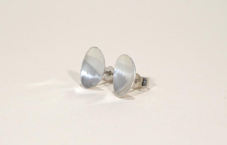 Silver Oval Earrings  Handmade Earrings  Contemporary image 0