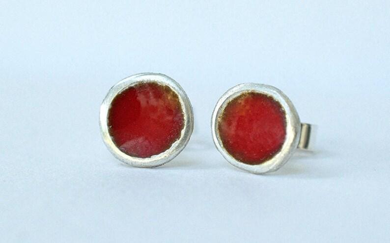 Silver and Berry Red Enamel Stud Earrings  Enamelled Earrings image 0