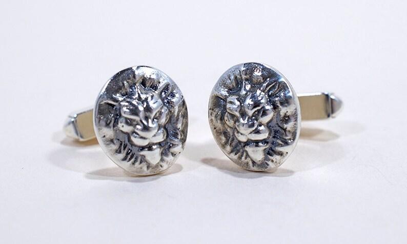 London Lion Silver Cufflinks  Lion cufflinks  Wild animal  image 0