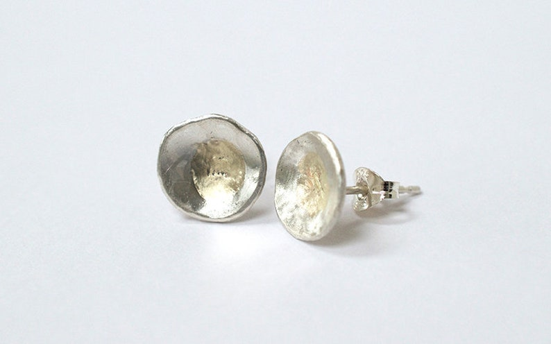 Silver and 9CT Gold Stud Earrings  Round Earrings  image 0