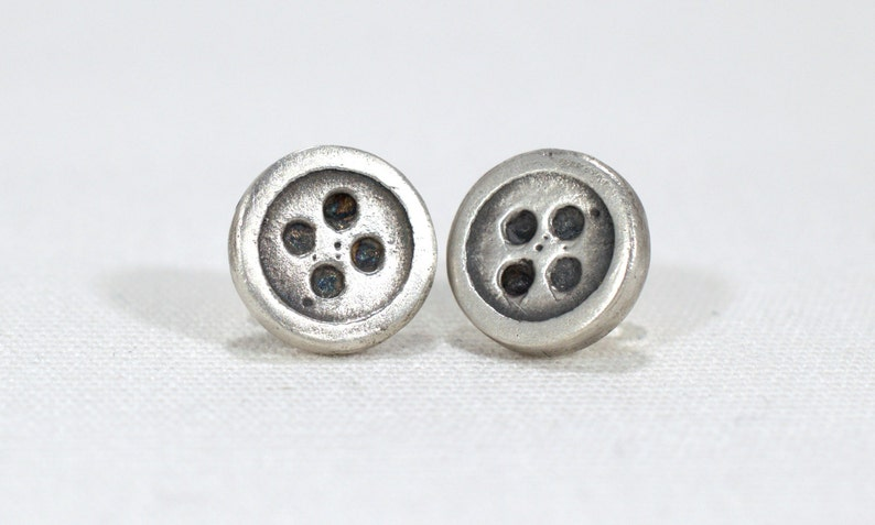 Silver Button Stud Earrings  Button Earrings  Silver Button image 0