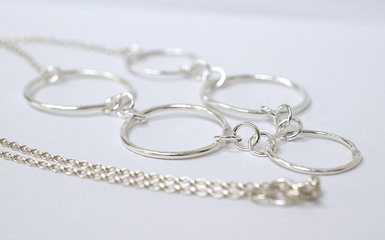 Five Circle Necklace  Silver Circle Necklace  Contemporary image 0