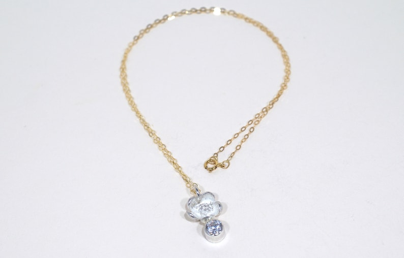 Cubic Zirconia Blossom Pendent  Silver flower and Gold chain image 0
