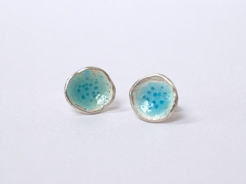 10mm Enamel Flower Earrings  Light Blue Earrings  Something image 0