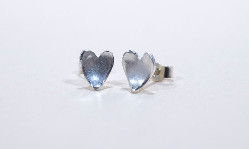 Mini Silver Heart Earrings  Heart Stud Earrings  Silver image 0