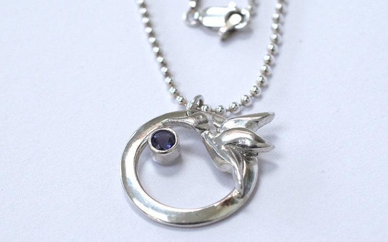 Humming Bird Necklace  Silver Humming Bird  Bird Necklace  image 0