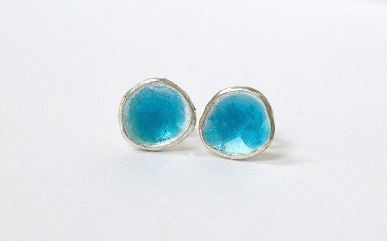Silver and Pastel Blue Enamel Stud Earrings  Enamelled image 0
