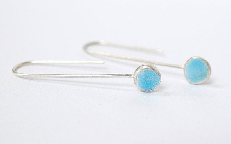 Silver and Pastel Blue Enamel Hook Earrings  Enamelled image 0
