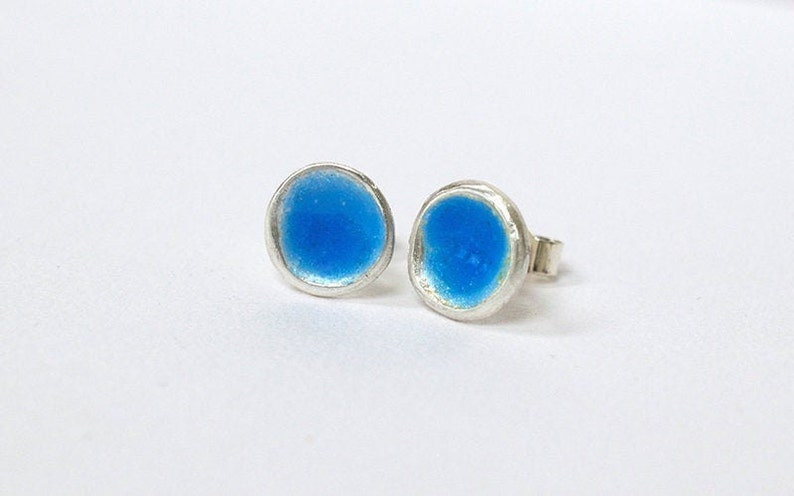 Silver and Blue Enamel Stud Earrings  Enamelled Earrings  image 0
